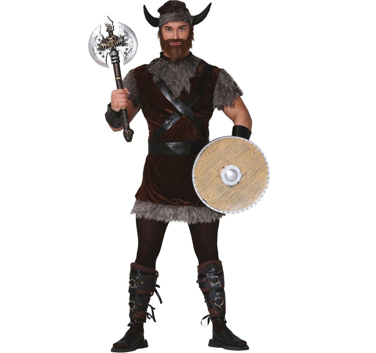 Herren Kostüm Wikinger Bjarne Gr. M-XL braun Normanne Fasching Karneval Paarkostüm Mottoparty
