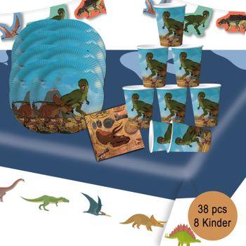 Party-Set Kindergeburtstag T-Rex Dinosaurier, 38-tlg.