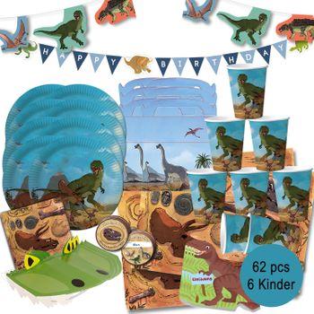 XXL Party-Set Kindergeburtstag T-Rex Dino für 6 Kinder, 62-tlg.