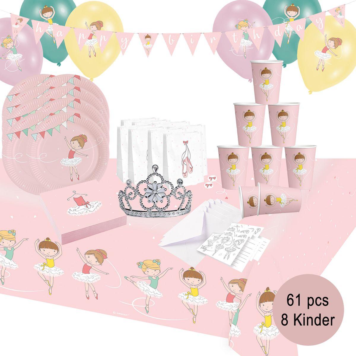 XL 55 Teile Prima Ballerina Party Deko Set zum Kindergeburtstag für 8 Kinder