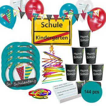 Schulanfang Party-Set Zuckertüte Einschulung Party, 144-tlg.