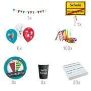 Schulanfang Party-Set Zuckertüte Einschulung Party 144 Teile Pappgeschirr 1. Schultag Mottoparty