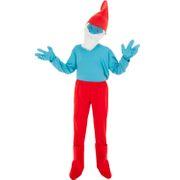 Papa Schlumpf Kostüm für Kinder deluxe Gr. 116-128 blau rot Fasching Karneval Schlumpfkostüm The Smurfs