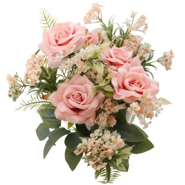 Deko Kunstblumen Rosenstrauß 9 Rosen rosa mit Blattgrün 40,5 cm Hochzeit Geburtstag Zuhause Vintage