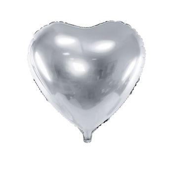 Herz Folienballon metallic silber Ø 45 cm Hochzeit Deko