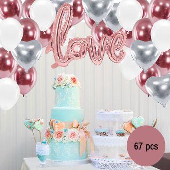 Deko Luftballon Party-Set roségold Hochzeit Verlobung Geburtstag, 67-tlg.
