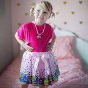 Geburtstagsrock rosa Einhorn mit Regenbogen Pailletten für Mädchen