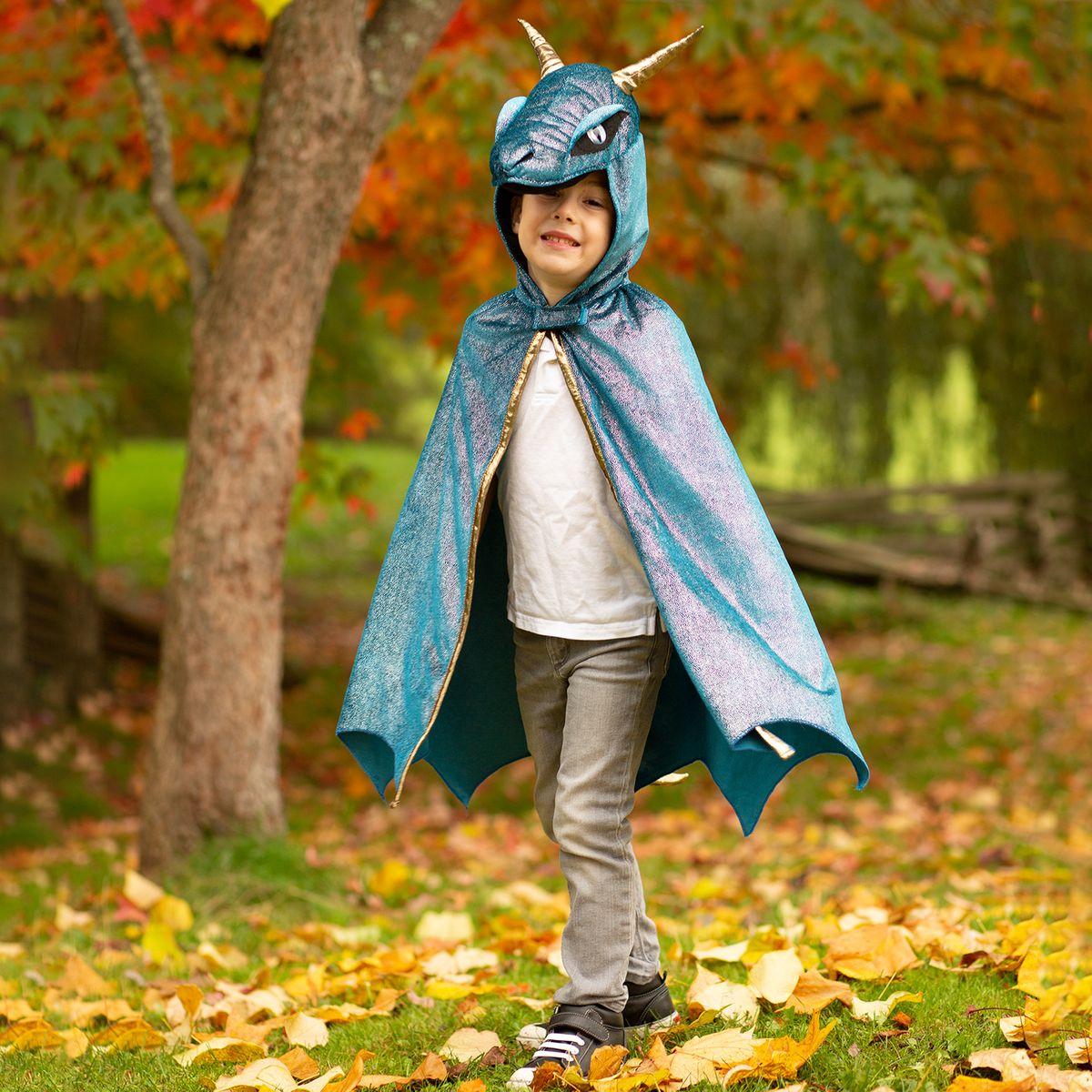 Drachen Kostüm für Kinder Sternennacht blau metallic 5-6 Jahre Drachenumhang Geburtstag Kinderfasching Karneval