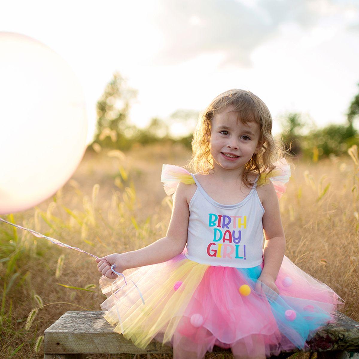 Geburtstagskleid Birthday Girl 4-5 Jahre Tüllkleid bunt mit Haarreif Sommerkleid Mädchen Geburtstagskind festlich feiern