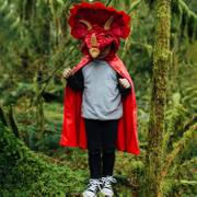 Triceratops Kostüm für Kinder Dino Saurier Umhang rot