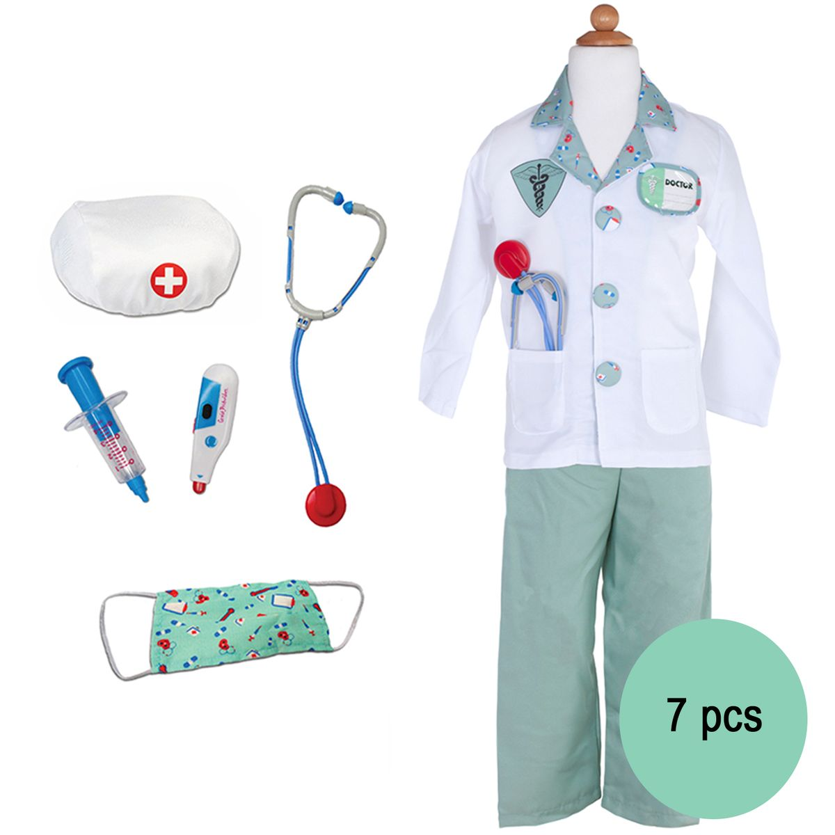 Arzt Kostüm für Kinder Doktor Sorgenfrei 5-6 Jahre 7 Teile inkl. Zubehör Ärztin Rollenspiel Fasching Karneval
