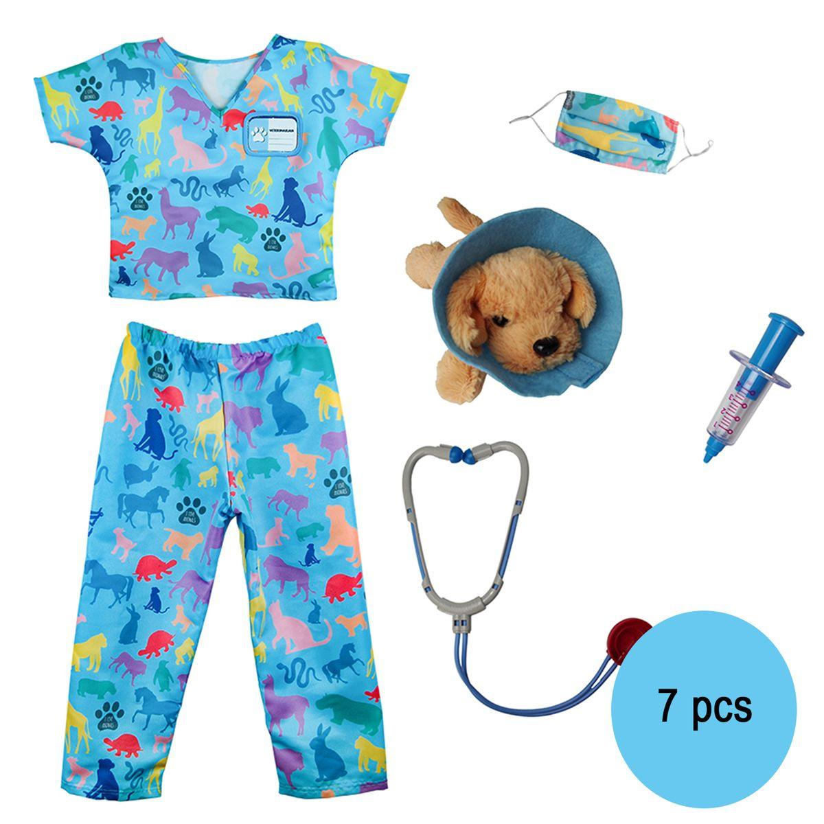 Tierarzt Kostüm für Kinder Doktor Tierfreund 5-6 Jahre 7 Teile inkl. Zubehör Rollenspiel Tierärztin Tierhelfer Fasching Karneval