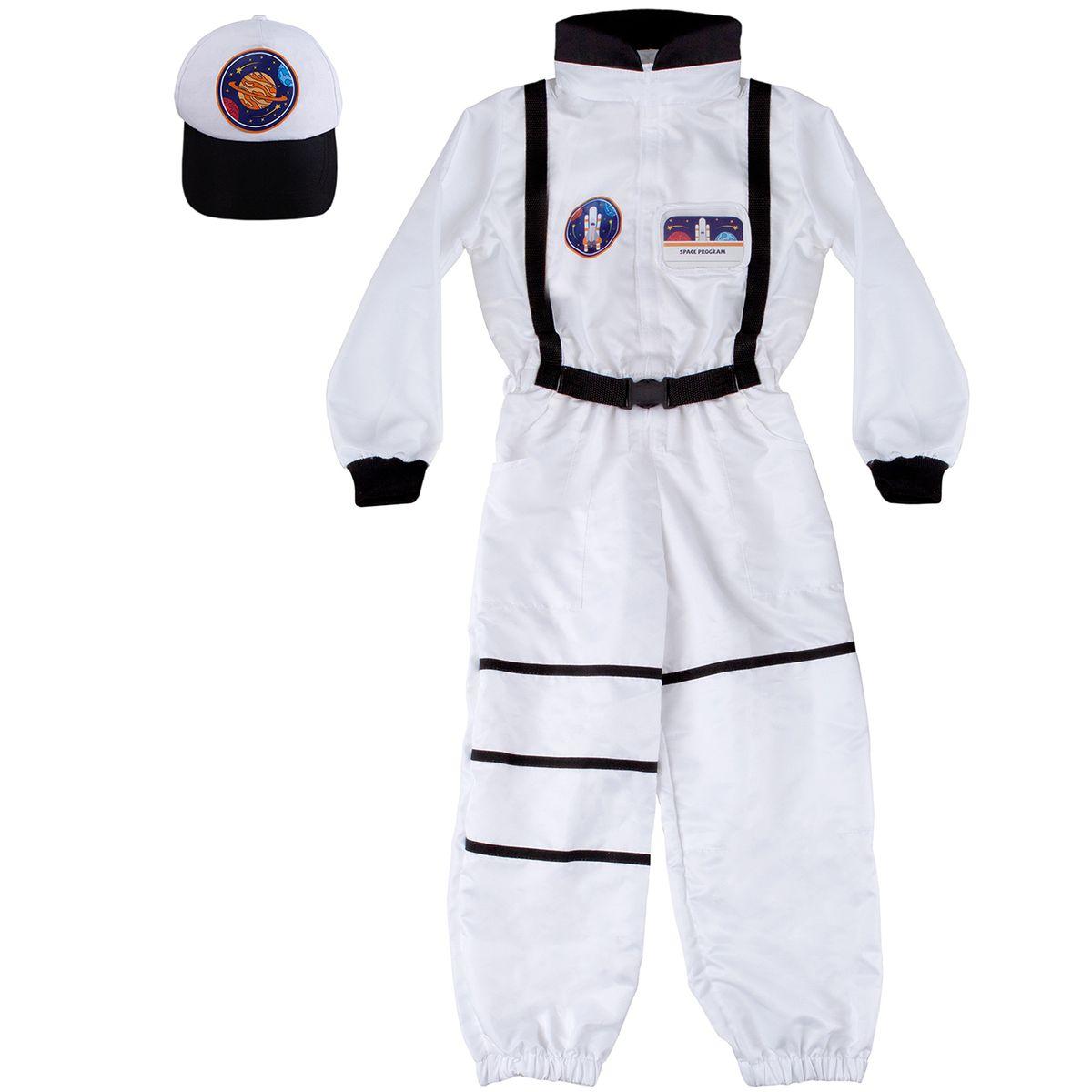 Astronauten Kostüm für Kinder Weltraumforscher mit Basecape 5-6 Jahre Fasching Rollenspiel Karneval Kindergeburtstag Mottoparty