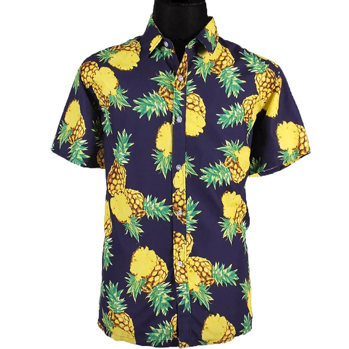 Sommer Herren Hawaiihemd mit Ananas-Motiv Gr. M-XXXL schwarz lässiges Urlaubs-Outfit