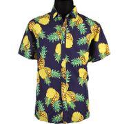 Sommer Herren Hawaiihemd mit Ananas-Motiv lässiges Urlaubs-Outfit