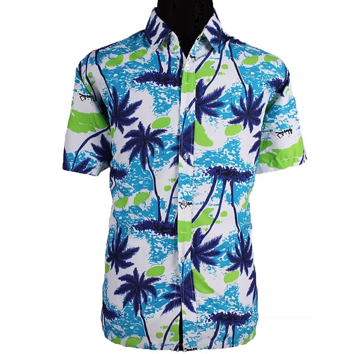 Sommer Herren Hawaiihemd mit Palmen-Beach-Motiv Gr. M-XXXL blau lässiges Urlaubs-Outfit