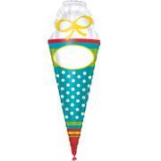 Folienballon Zuckertüte personalisierbar mit Namen 35 x 111cm Deko Schulanfang Ballon Zuckertütenfest ABC-SChütze