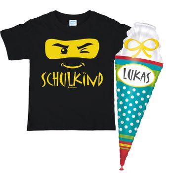 Schulkind T-Shirt ABC-Schütze schwarz mit XXL Folienballon Zuckertüte