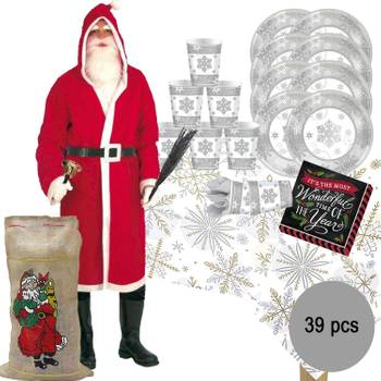 XXL Weihnachtsfeier Party-Set Christmas inkl. Weihnachtsmann-Kostüm, 39-tlg.