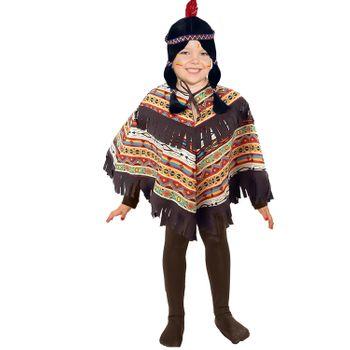 Indianer Kostüm für Kinder Onesize Poncho gemustert