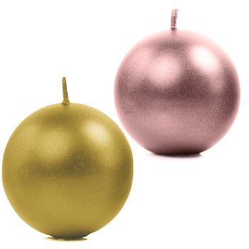 Runde Kerzen 10 Stück 6 cm Kugelkerzen Deko metallic rosé gold