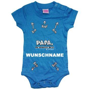 Kurzarm Baby Body blau mit Wunschname