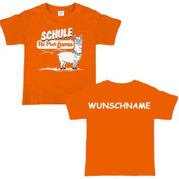 Kinder T-Shirt Schulanfänger Schule No Prob Lama mit Wunschname