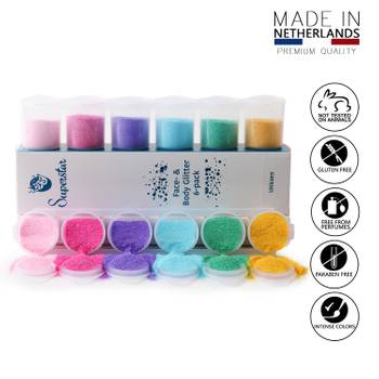 Unicorn Glitzer Schmink-Set für Haut & Haare 90 ml 6 Farben