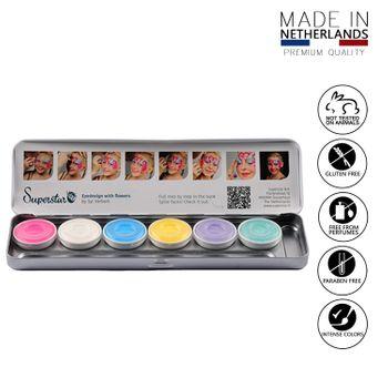 Gesichts- und Körperschminke 6 Pastellfarben Aqua Schminke
