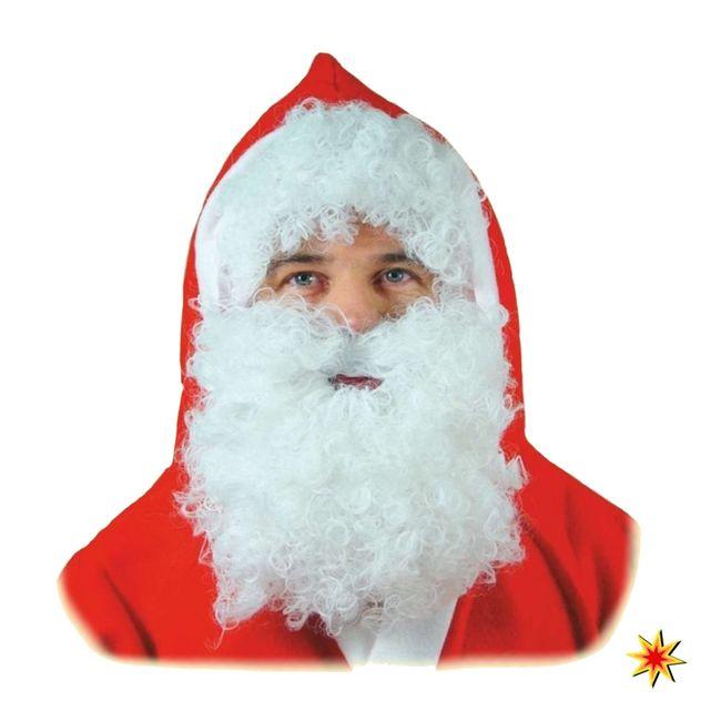 Weihnachtsmannbart und Perücke Weiß Nikolaus Bart