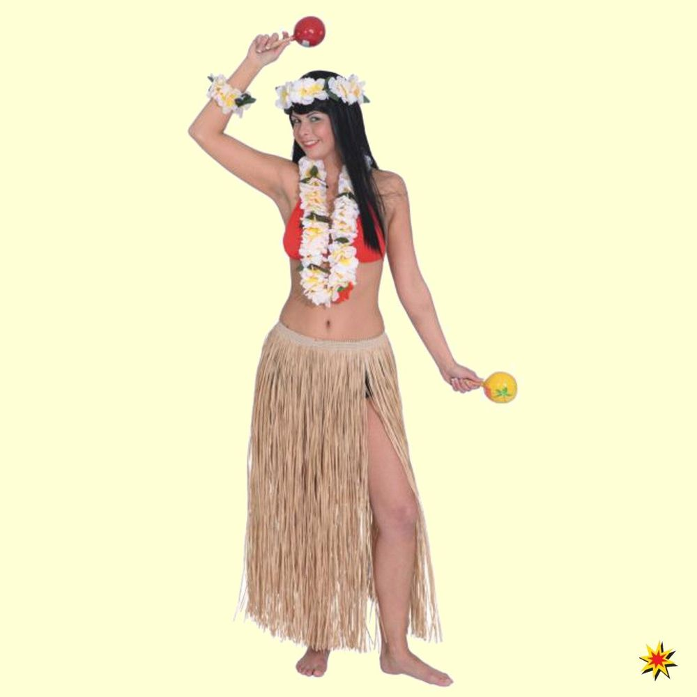 Langer Bastrock natur Rock 90cm Hawaii Beachparty Karibik Südsee Fasching