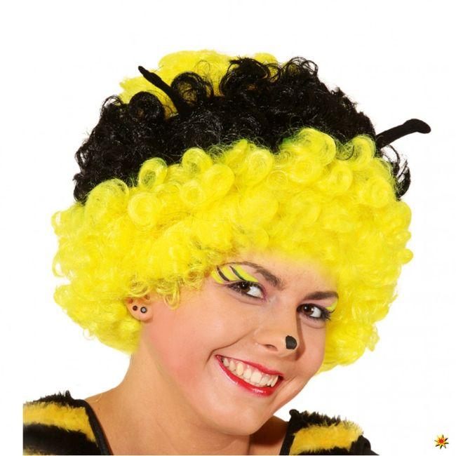 Bienenperücke schwarz-gelb Wuschelkopf Biene Fasching Perücke