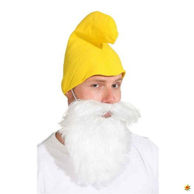 Mütze Zwerg gelb Kostüm Zubehör Karneval Fasching Wichtel Schlumpf Märchen