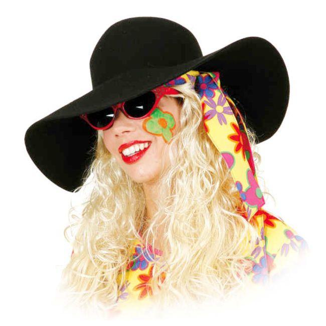 Damen Schlapphut schwarz Onesize Filzhut Hippie Flower Power Kostüm-Zubehör Fasching Karneval Mottoparty