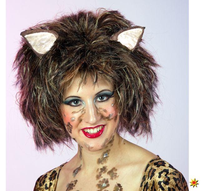 Perücke Katze braun Fasching Katzenperücke Kitty Karneval Fasching Mottoparty
