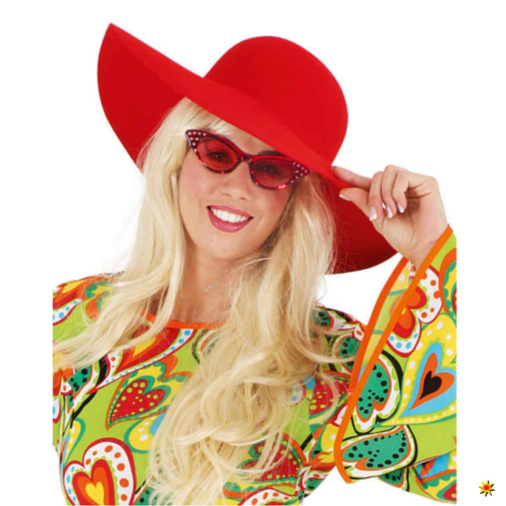Damen Schlapphut rot Fasching Karneval Flower Power Kostüm Hippie 70er