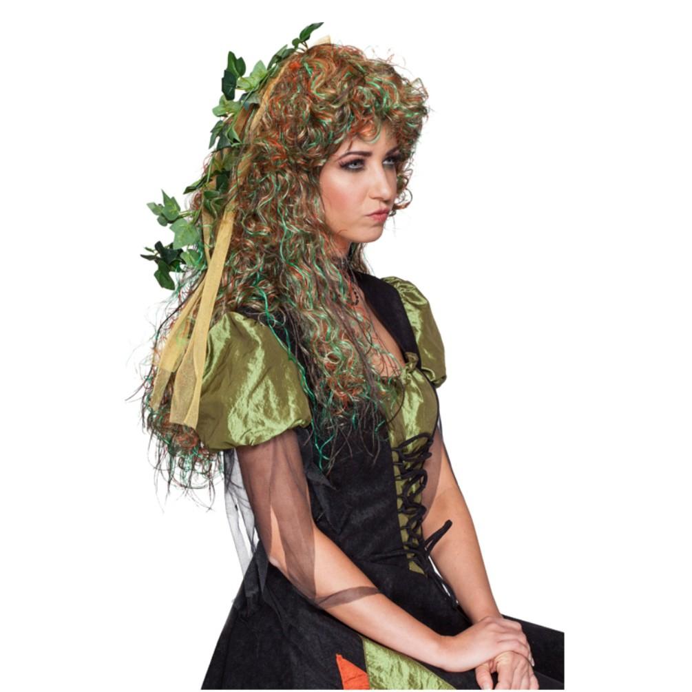 Perücke Elfe grün/braun Langhaar Locken Märchen
