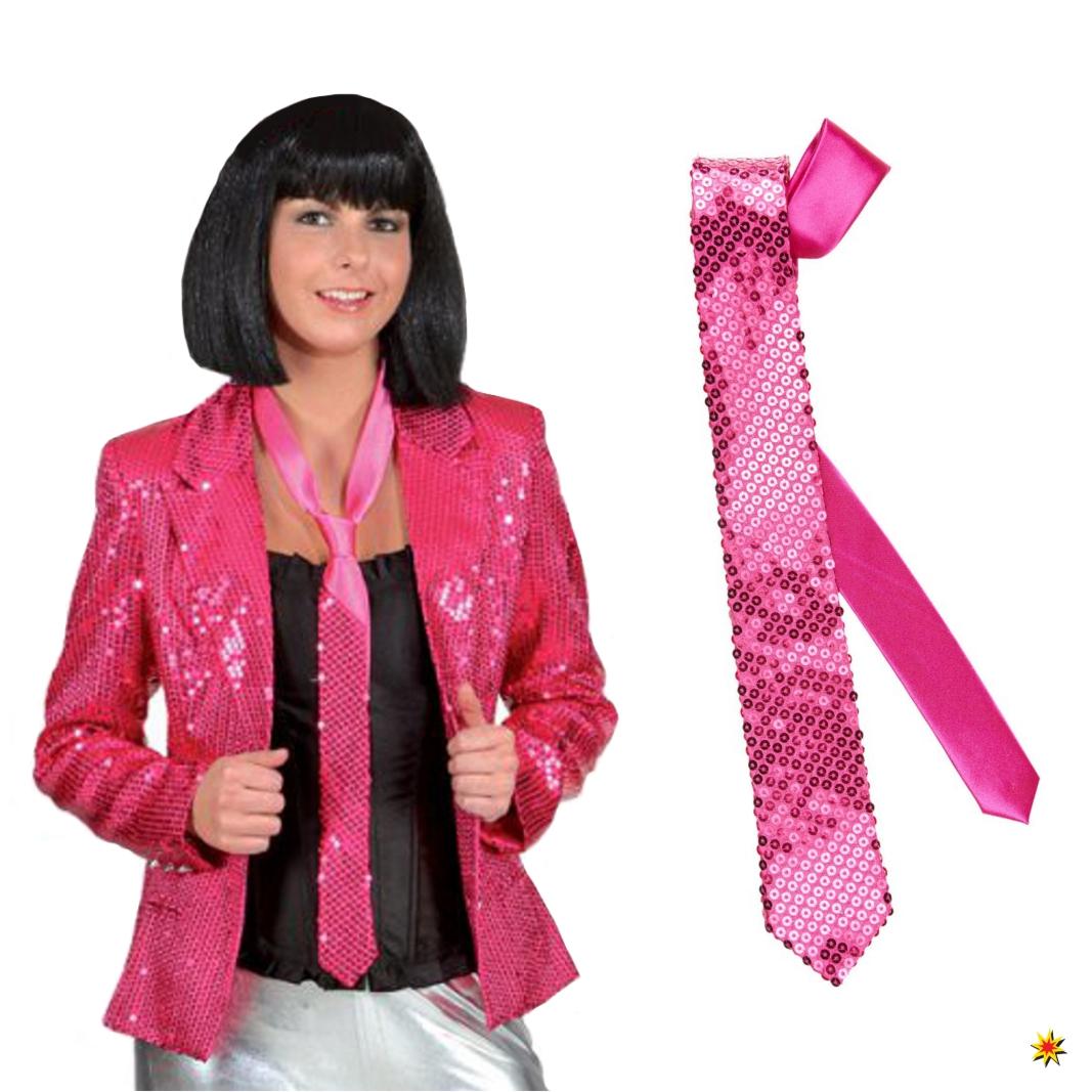 Pailletten Krawatte pink Schlips Binder Fasching Karneval Casino Las Vegas Party