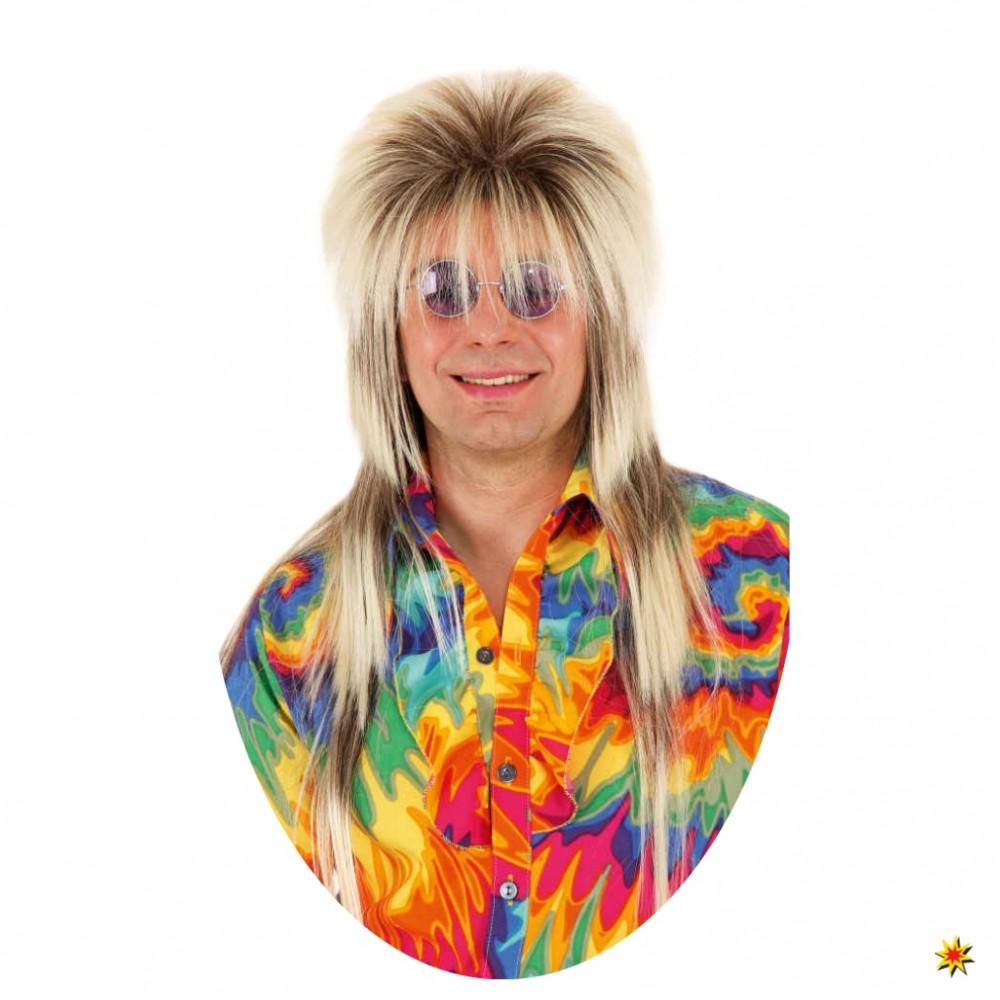 Vokuhila Perücke blond Kostüm Super Rocker Fasching 80er Jahre Karneval