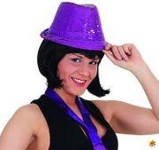 Unisex Hut mit Pailletten Discoqueen lila