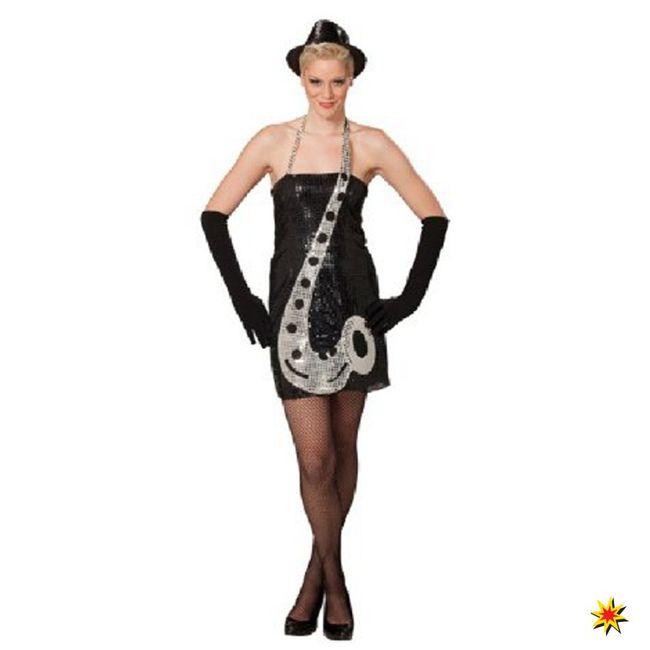 Damen Kleid Saxophon Kostüm Karneval Fasching Instrument Motto Musik