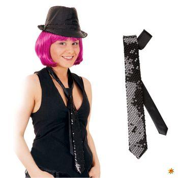 Pailletten Krawatte schwarz, Langbinder