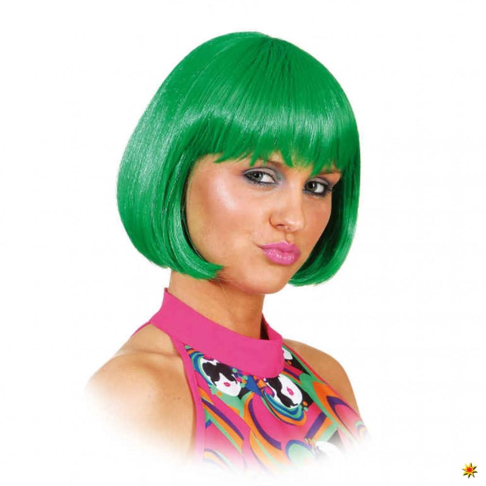 Perücke Lola grün Bob-Schnitt mit Pony Fasching