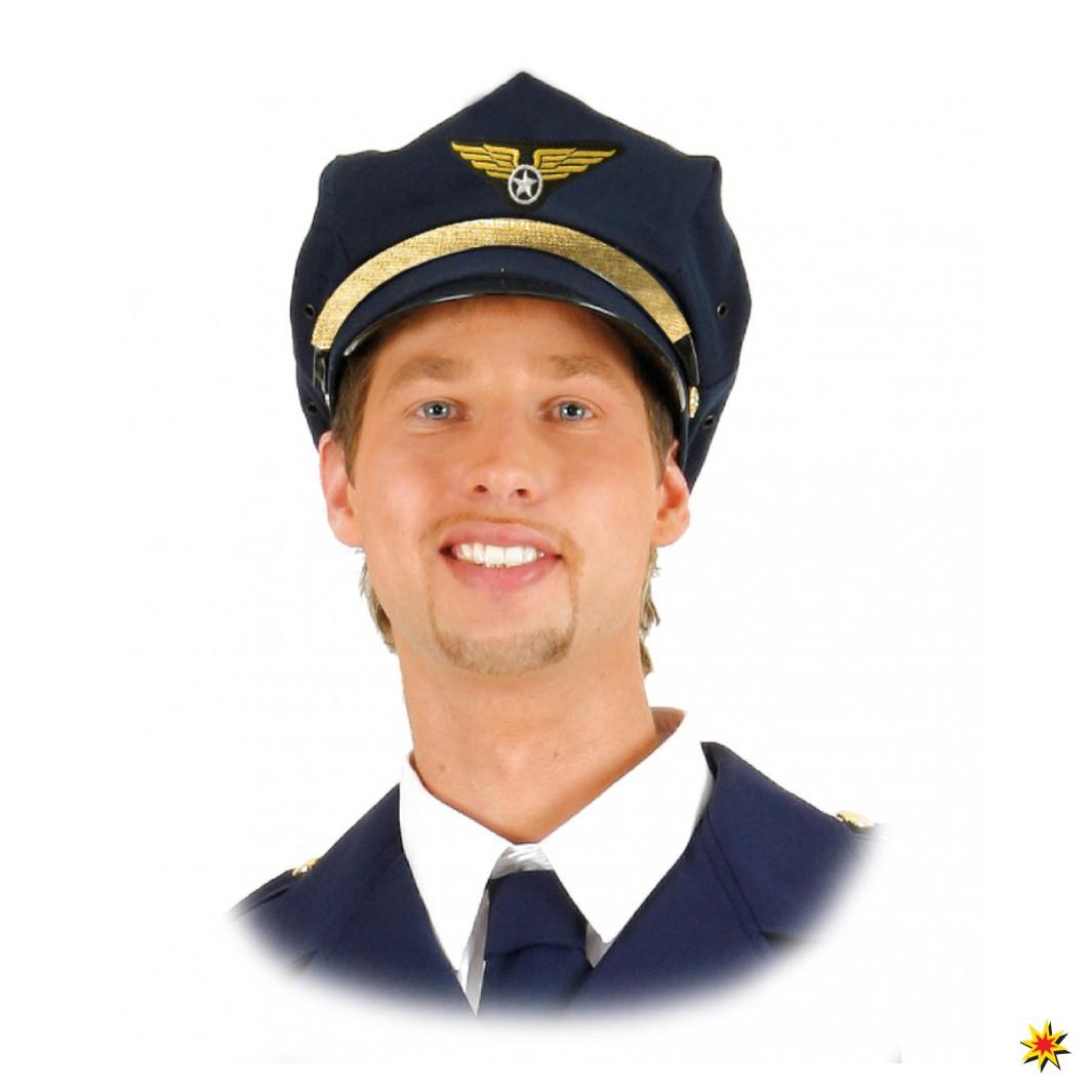 Pilotenmütze blau Fasching Kostüm Zubehör Pilot Flugkapitän