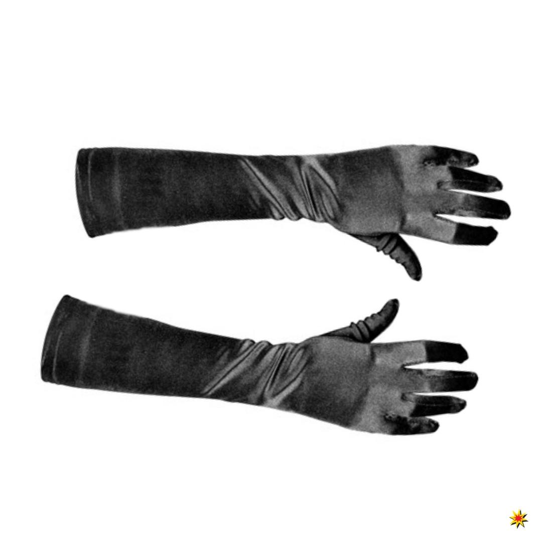 Satinhandschuhe schwarz 40cm Handschuhe Karneval 20er Jahre Charleston Burlesque
