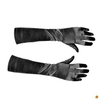 Satin-Handschuhe schwarz, 40cm lang