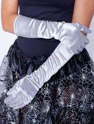 Satin-Handschuhe silber 40cm Handschuhe Karneval 20er Jahre Charleston Burlesque
