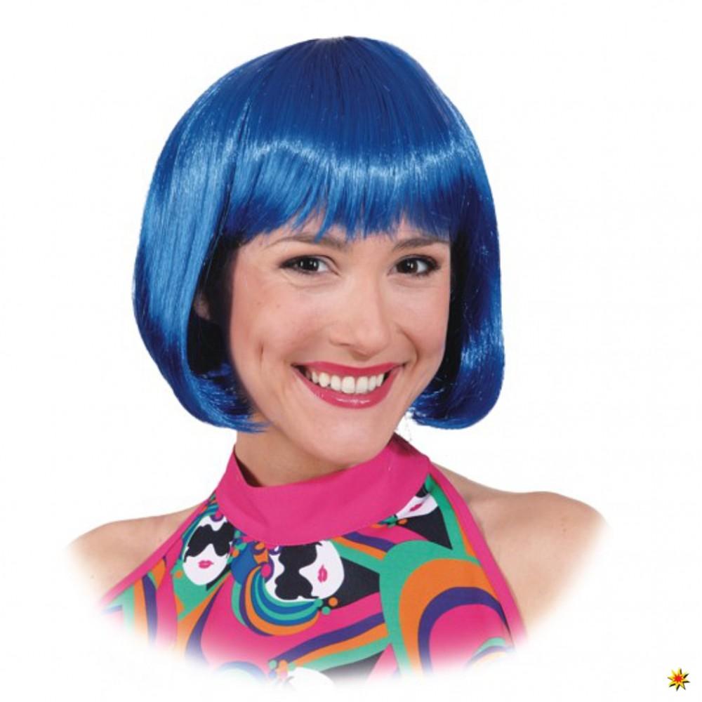 Perücke Lola blau Bob-Schnitt mit Pony Fasching