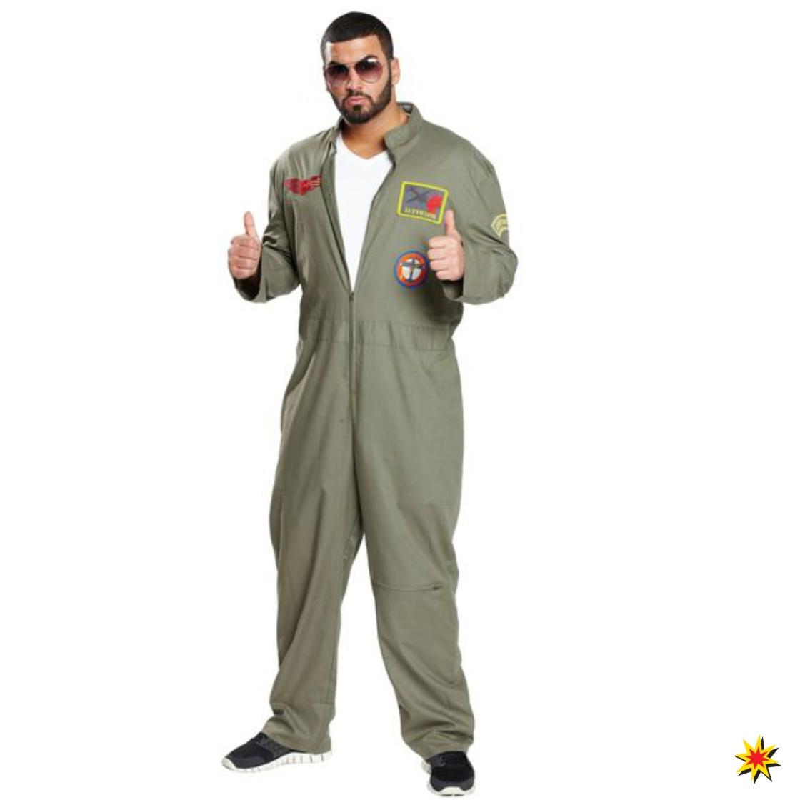 Kampfpilot Kostüm Herren Gr. 48 Overall grün Army Militär Fliegerass Fasching Karneval Mottoparty