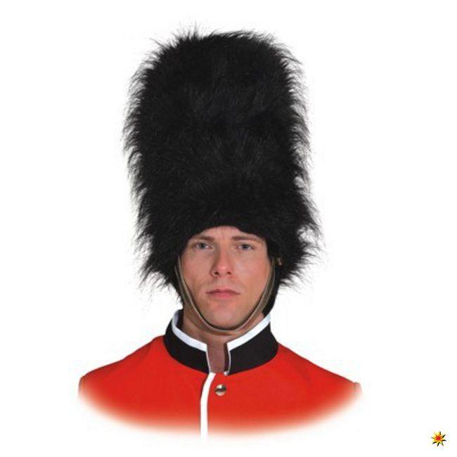 Herren Fellmütze Garde Soldat Tommy schwarz Plastwache Karneval Fasching Mütze